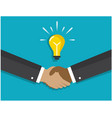 a handshake and a light bulb symbolizes idea vector image vector image