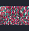 abstract wavy lines seamless patterns set floral vector image vector image