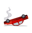 accident on road inverted machine after collision vector image