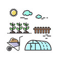 agriculture nature set icons vector image vector image