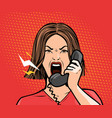 angry girl or young woman screaming into the phone vector image vector image