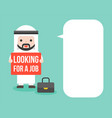 arab businessman hold looking for a job sign with vector image vector image