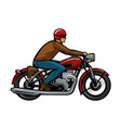 biker riding a motorcycle cartoon vector image vector image