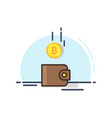bitcoin drop into the brown wallet vector image vector image