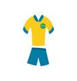brazil soccer uniform flat style icon vector image vector image