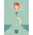 Businesswoman on a bulb cross an abyss vector image vector image