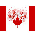 canada day design of flag and balloon with vector image