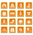 charity icons set orange square vector image vector image