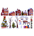 christmas elements set new year tree home gifts vector image