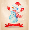 christmas vintage postcard with snowman vector image vector image