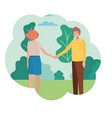 couple holding hands with landscape avatar vector image vector image