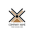 cross lines with triangle logo symbol for vector image vector image