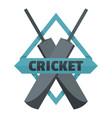crossed bats cricket logo flat style vector image