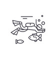 diving line icon concept diving linear vector image vector image