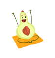 funny avocado fruit cartoon character doing yoga vector image