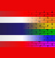 gay rainbow wall thai flag vector image