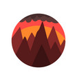 geometric round-shaped emblem of landscape with vector image vector image