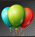 green turquoise red balloons with ribbons vector image