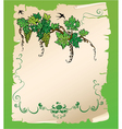 Hand drawn Branch of grapes on old paper scroll vector image vector image