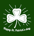 happy saint patrick shamrock or four-leaf clover vector image