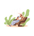 heat and hot weather concept person sitting vector image vector image