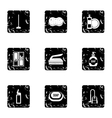 House cleaning on weekends icons set grunge style vector image vector image