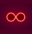 infinity neon symbol on red background vector image vector image