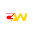 letter cw logo with lightning icon vector image vector image