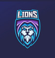 lion esport gaming mascot logo template vector image