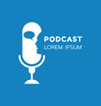 logo or icon podcast with talking on blue vector image vector image