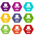 magic black hat and mustache icon set color vector image vector image