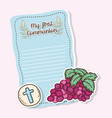 my first communion card with host wafer and grapes vector image vector image