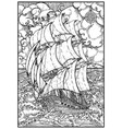old sailing ship under full sails against seascape vector image vector image