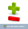 Plus and minus symbols vector image vector image