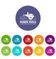 power tool metal icons set color vector image vector image