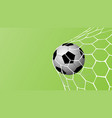 realistic football in net on green background vector image vector image