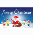 santa claus and childen hello merry christmas vector image vector image