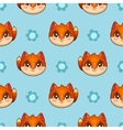 Seamless pattern with funny fox faces vector image vector image