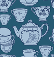 seamless pattern with teapots and teacups vector image vector image