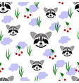 seamless racoon vector image vector image