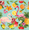 Seamless tropical fruits and flamingo pattern