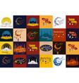 set of happy ramadan kareem greeting cards muslim vector image
