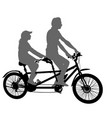 silhouette of two athletes on tandem bicycle on vector image vector image