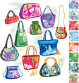 summer bags with patterns vector image