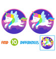 unicorn find 10 differences vector image vector image