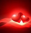 valentine day heart background with wave vector image vector image
