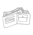 Wallet with cash icon in outline style isolated on vector image