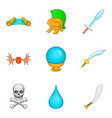 weapon icons set cartoon style vector image vector image