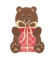 cartoon teddy bear with gift vector image