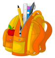 cute stationary on the bag with apple vector image
